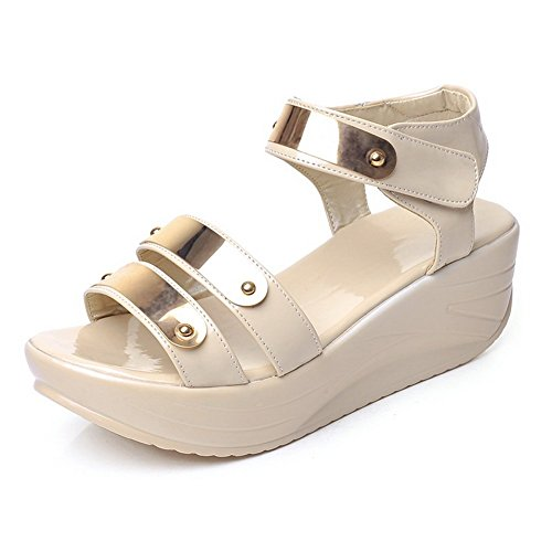 BalaMasa Womens Open-Toe Hook-and-Loop Patent Leather Sandals Beige