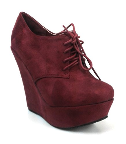 Forever Link Womens Sexy Round Toe Lace Up Stylish Booties Juicy-97 Burgundy ZeqYIq9S