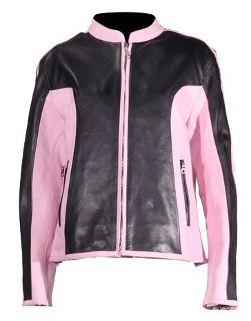89a47a008 Amazon.com: Women's Black and Pink Leather Motorcycle Jacket (Size ...