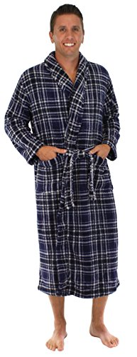 PajamaMania Men's Fleece Long Robe Navy- Med