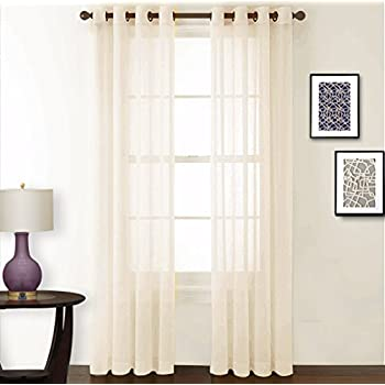 nicetown living room sheer curtains crushed sheer window curtain grommet voile panels drapes for villa hall parlor one pair w52 x l84 beige - Sheer Drapes