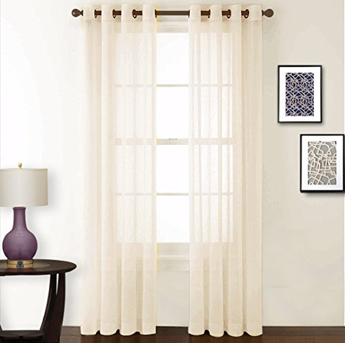 NICETOWN Living Room Sheer Curtains - Crushed Sheer Window Curtain Grommet Voile Panels / Drapes for Villa / Hall / Parlor (One Pair, W52 x L84, (Double Panel Set)