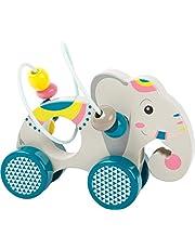 small foot 11088 schuifdier met motoriek strik Jungle van hout voor kinderen vanaf 12 maanden, FSC 100% gecertificeerd speelgoed, oranje