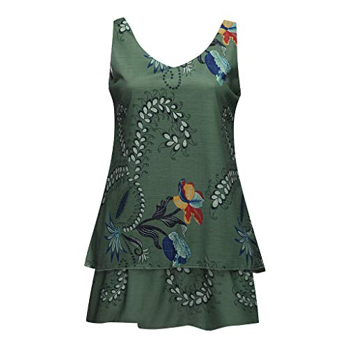 (Sleeveless Tank Tops, ✔ Hypothesis_X ☎ Women's Summer Floral Print Casual Tank Tops Shirts Pleated Tunic Shirts Army Green)