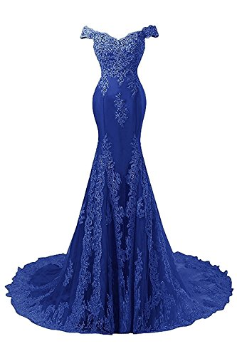 JAEDEN Vestidos Baile Sirena Vestido Noche Vestido Satín de Azul Novia Real Mujer Encaje Largo de de fq4xH5Unq