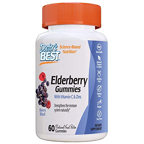 Doctor's Best Elderberry Gummies with Vitamin C & Zinc, 60 Ct, Chewable Immune Support, Antioxidant Herbal Supplement, Non-GMO, Natural Fruit Pectin, Vegan