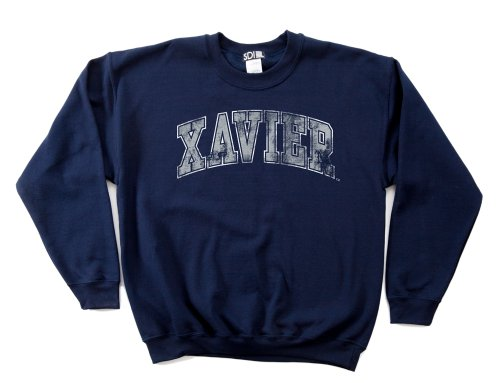 NCAA Xavier Musketeers 50/50 Blended 8-Ounce Vintage Arch Crewneck Sweatshirt, Medium, Navy (Double Arch Crew Sweatshirt)