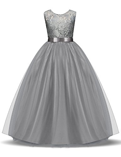 c5ee6f852714d NNJXD Girl Lace Sleeveless Flower Party Tutu Princess Tulle Dress Size  (170) 13-14 Years Gray. Sale!