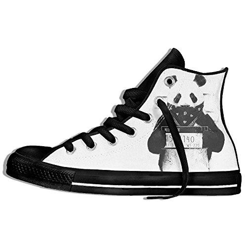 Baskets Montantes Classiques Chaussures De Toile Anti-dérapant Bad Panda Casual Marchant Pour Hommes Femmes Noir