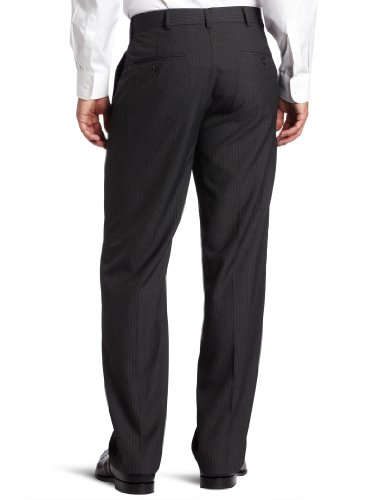 Haggar Men's Textured Pinstripe Tailored Fit Plain Front Suit Separate Pant, Charcoal Heather, 38/32