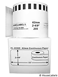 6 Rolls; Continuous Paper, BROTHER Compatible DK 2205 Continuous Paper Labels with ONE (1) reusable black cartridge (2-4/9\