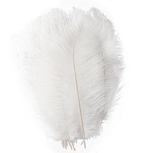 Piokio 20 pcs White Ostrich Feathers 12-14 inch(30-35 cm) for Wedding Party Centerpieces