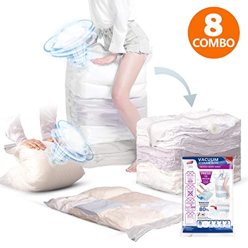 Cube Set Comforter (TAILI Vacuum Storage Bags Set, New Air Valve, 8 Pcs (2 Jumbo Cube, 2 Jumbo, 2 Large, 2 Medium), No Need Hand Pump for Travel, 80% More Space Saving for Clothes, Comforters, Pillows, Bedding, Blankets)