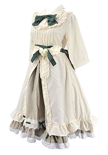 Nite closet Sweet Victorian Lolita Dress for Women White Maid Costume Frilly Floral (White, US4-6)