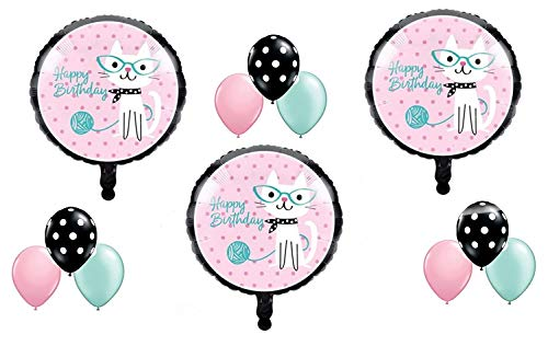 12 pc KITTY CAT DIVA Purrfect Birthday Party Balloons Decoration Supplies