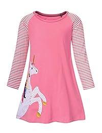 AmzBarley Unicorn Dress Girls Long Sleeve Cotton Cartoon Casual Dresses Kids Striped Nightdress G097 Pink 6T