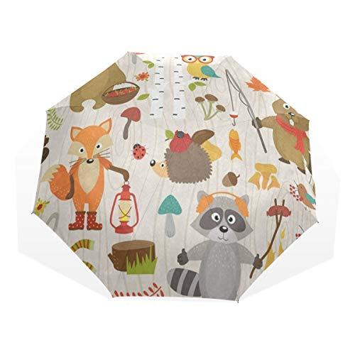 Umbrella Animal Forest Fox Bear Brich Tree Travel Golf Sun Rain Windproof umbrellas with UV Protection for Kids Girls Boys (Trees Brich)