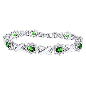 Jewel Zone US Simulated Emerald and Cubic Zirconia Link Womens XO Bracelet in Gold Over Brass