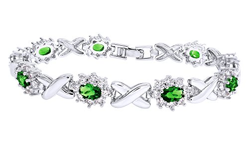 Jewel Zone US Simulated Emerald and Cubic Zirconia Link Womens XO Bracelet in White Gold Over Brass -7