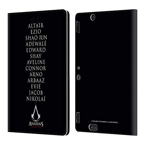 Official Assassin's Creed Names Legacy Typography Leather Book Wallet Case Cover Compatible for Amazon Kindle Fire HDX 8.9 -