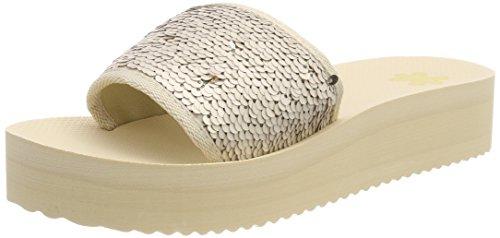 Sandali sombrero Flip Platform 8580 flop Paillettes Ecru Poolhi wq6IT