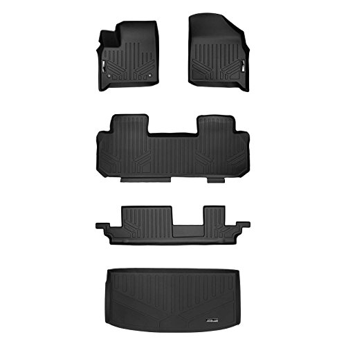SMARTLINER Floor Mats 3 Rows and Cargo Liner Behind 3rd Row Set Black for 2018-2019 Chevrolet Traverse with 2nd Row Bench Seat ()