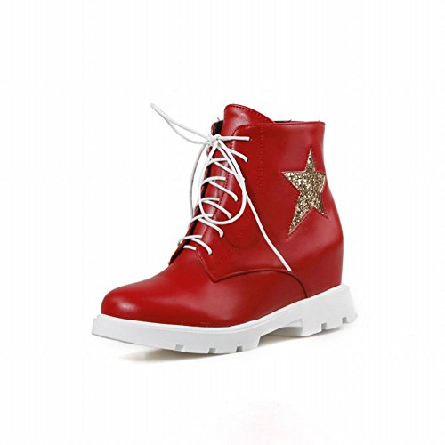 Carolbar Womens Lace up Fashion Sequins Zipper Star Shaped Pattern Wedge Hidden Heel Martin Short Boots Red 0aJ5cxD62v