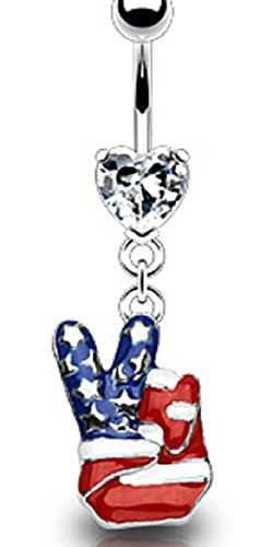 Belly Button Ring 14g 3/8 American Flag Fingers Peace V
