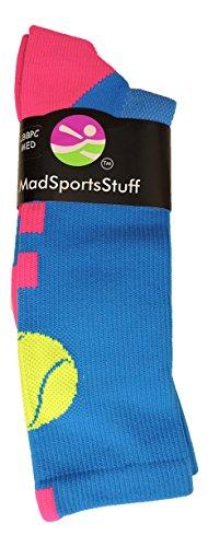 Tennis Logo Athletic Crew Socks (Electric Blue/Neon Pink, Medium) by MadSportsStuff (Image #1)