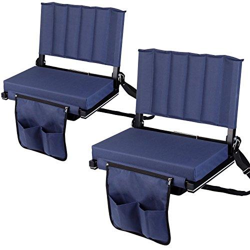 Leader Accessories Wide Padded Stadium Chair/Stadium Seat(2 seats),Navy (2 Seat Cushion)