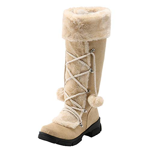 Seaintheson Lace up Snow Boots Women, Round Toe Suede Hairball Square Heel Shoes Warm Zipper Mid Calf Booties Beige