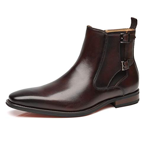 Buckle Chukka - La Milano Mens Leather Chelsea Boots Winter Comfortable Formal Dress Monk Strap Ankle Chukka Buckle Slip On Boots