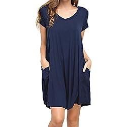 KEEDONE Women's Swing Dress Casual Loose T-Shirt Dress