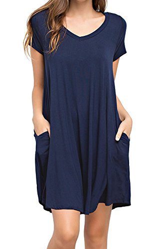 KEEDONE Women's Swing Dress Casual Loose Tunic Dress (XL, Navy Blue)