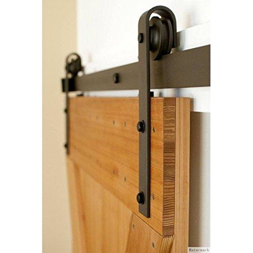 Shape Hangers Rustic Barn Hardware RH2C-200 Rustic Barn Double Door Bypass Sliding Barn Door Hardware Kit with J
