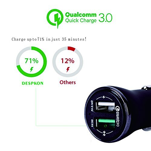 Car Charger Quick Charge3.0 27W Dual USB Adapter for iphone 7 / 6 / 5s / Plus,Samsung Galaxy s6 / s7 / Edge / Plus, ipad Ari 2 / mini,LG G4 / G5, Nexus, HTC and More-DESPKON
