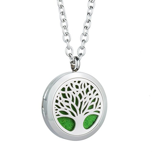 Tree Of Family Essential Oil Diffuser Locket Pendant   Stainless Steel Fragrance Necklace Aromatherapy Jewelry With 8 Felt Pads For Women  Teens Girl Gift By Jenia