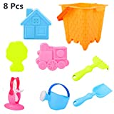 YF-TOW Beach Sand Sandbox Toys Set, 8 Pcs Safety Material Soft Sand Molds Sand Castle Bucket Mold House Shovel Rake Watering Can Sandbox Outdoor Pool Bath Toys for Kids Toddlers Baby