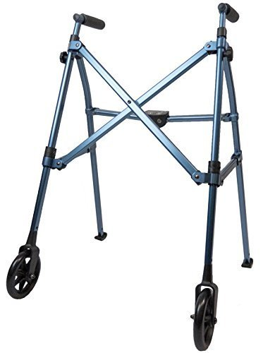 Able Life Space Saver Lightweight Folding Travel Walker with 6 Inch Wheels + Bariatric Frame Supports 400 Pounds Cobalt Blue by Able Life