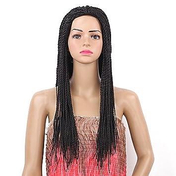 ligaosheng Pelucas sintéticas Recto Peluca con Trenzas Negro Mujer Sin Tapa Peluca Natural Larga Pelo sintético, Black: Amazon.es: Deportes y aire libre