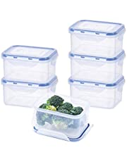 EASYLOCK Plastic Food Storage Container Set clip Lids airtight BPA free for Kitchen stackable lunch box 1050ml, Pack of 5