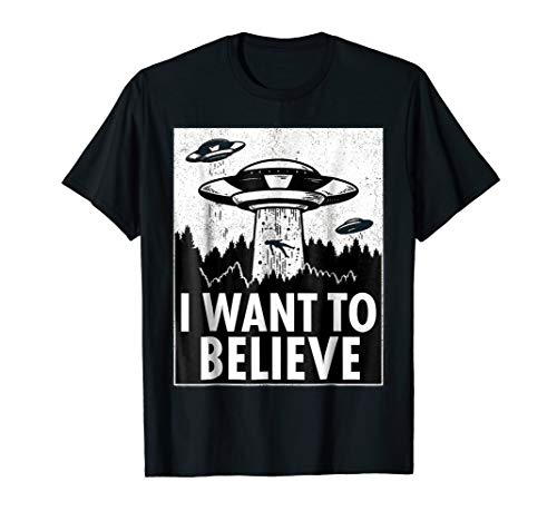 I WANT TO BELIEVE UFO Alien Abduction T Shirt Sci-Fi Gift ()