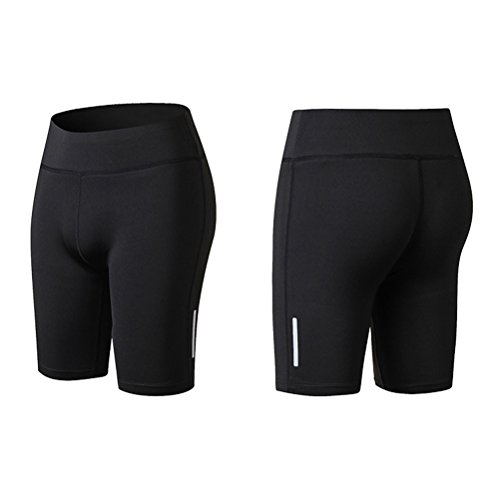 Zhhlaixing Women's Running Sports Middle Pants Compression Quick-Dry Trousers Black
