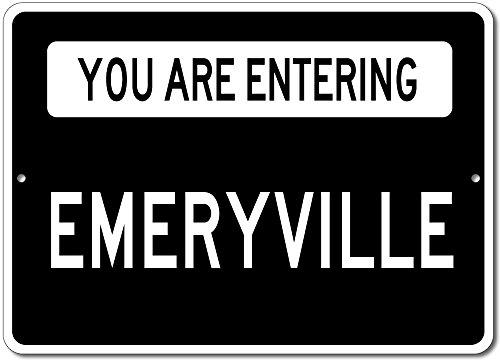 You are Entering EMERYVILLE - Custom Aluminum EMERY Family Last Name Sign - Black - - Shops Emeryville