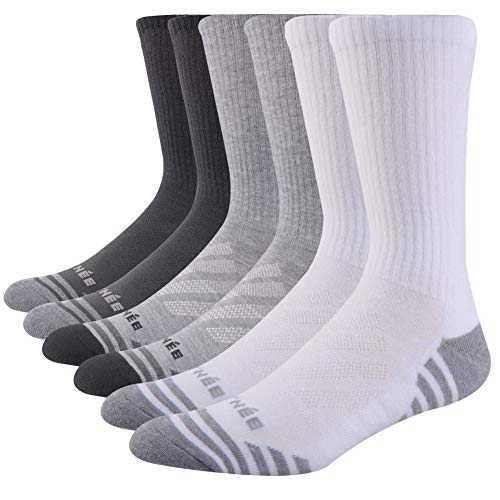 JOYNÉE Men's 3 Pack Athletic Performance Cushion Crew Socks for Training,Black/White/Grey,Sock Size:10-13