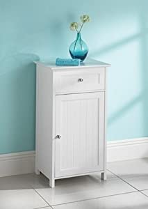 Maine white narrow bathroom storage cabinet with 1 drawer for Narrow floor standing bathroom cabinets