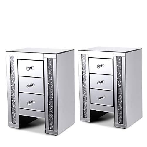 - JAXPETY Sparkly Mirrored Crushed Crystal 3 Drawer Nightstand Bedside Table Cabinet,Set of 2