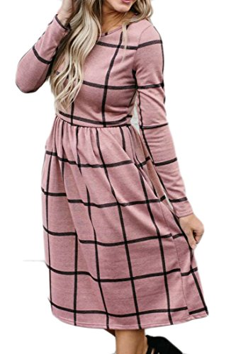 Pockets Long Pink Plaid Sleeve Dress s Nek Women Round Domple Stylish Midi qFwHxp8IP
