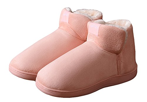 Agowoo Kvinna Termisk Fuzzy Inomhus Hem Bootie Tofflor Shallow_pink