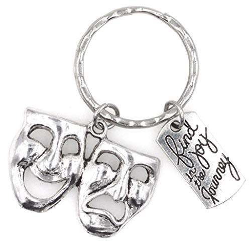 It's All About...You! Find Joy in The Journey Comedy Tragedy Mask Theatre Keychain 112X]()